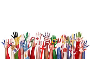 Hands Flag Symbol Diversity Ethnic Ethnicity Unity Concept