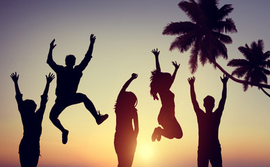 Silhouettes Young People Jumping Excitement Concept