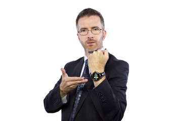 businessman wearing a modern smartwatch wearable tech