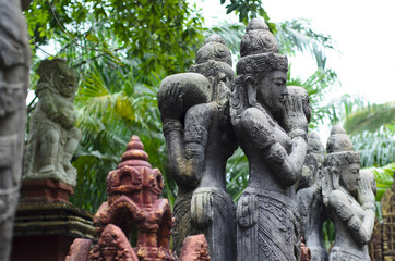 Balinese religious statues in a sacred park