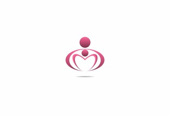 mom and kid baby icon template