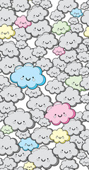 Vector seamless background with kawaii cute clouds