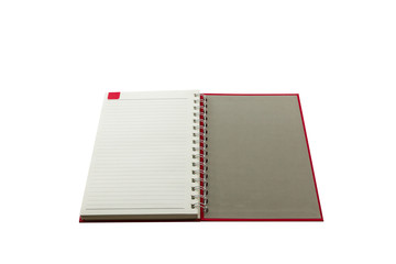 Open red book with lines .
