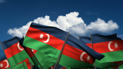 Waving Azerbaijani Flags