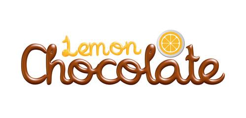 Lemon chocolate logo isolated on white