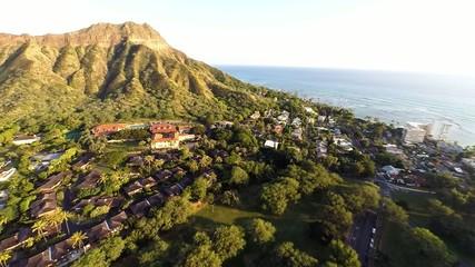 Aerial over Kapiolani Park towards Diamond Head in Honolulu, HI