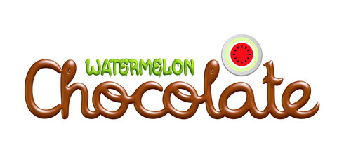 Watermelon chocolate logo isolated on white