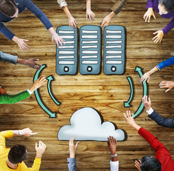 Cloud Computing Connection Data Downloading Sharing Concept