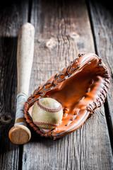 Vintage baseball glove and ball