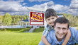 Mixed Race Father, Son Piggyback, Front of House, Sold Sign
