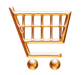 3d golden shopping cart on white background
