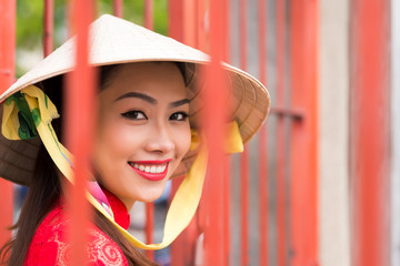 Vietnamese girl in conical hat