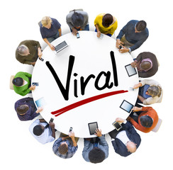 Aerial View of People and Viral Concept