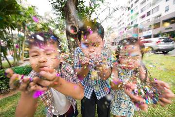 Blowing confetti