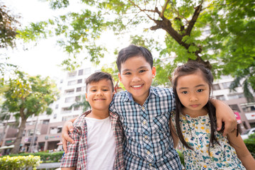 Group of cheerful Asian children