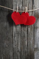 Love heart on Clothesline wood background