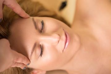 Close-up of head massage