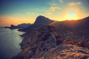 sea and mountains at sunset. Crimea landscape. Nature background