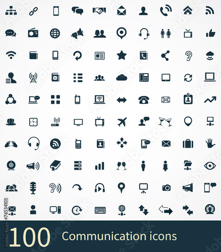 100 communication icons poster