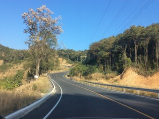 road in north of Thailand is curve goto moutain