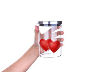 Hand hold Red hearts in glass jar with aluminum lid isolated on