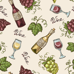 Vector pattern with grapes, bottles, glasses of red, white wine