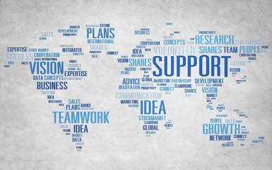 Global Business Assistance Advice Support Teamwork Concept