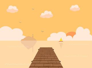 桟橋 海 夕焼け
