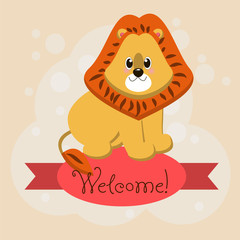 Card with the inscription on the tape Welcome and animals lion