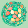 Happy Easter card with colored eggs in nest.