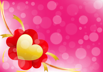 Vector heart and ribbon on pink color background