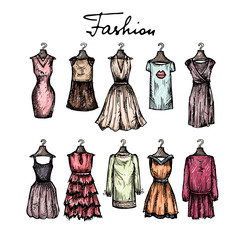 Cute hand drawn illustration with fashionable dresses sketches
