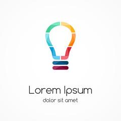 Light buble logo. Idea brainstorm.