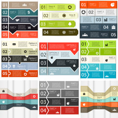 Vector lines infographics set.