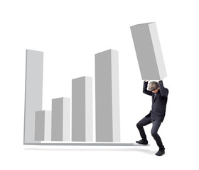 Businessman is attempted by carry graph to increase from