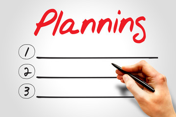 PLANNING blank list, business concept