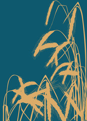 wheat golden silhouettes on blue background illustration