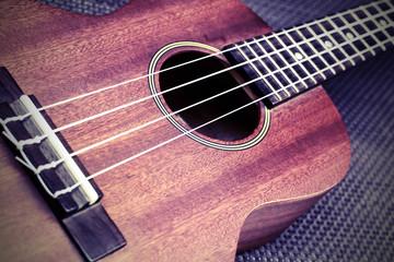 Close up of ukulele