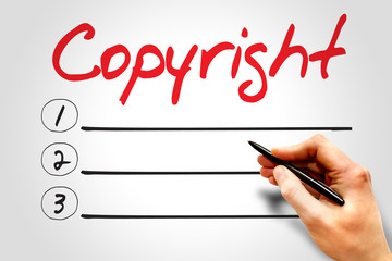 Copyright blank list, business concept