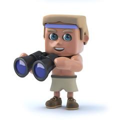 3d Bodybuilder looks through binoculars