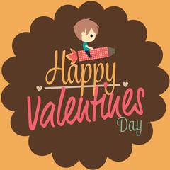 valentines love card boy ride rocket