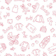 Vector pattern with symbols of newborn girl on white color