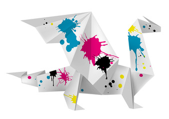 Origami dragon with splashes of ink