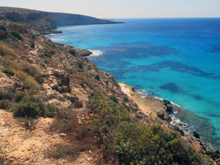 Lampedusa in Italy with Cliff and clean blue sea