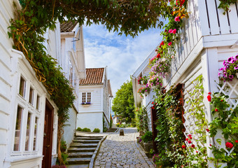 Street in old centre of Stavanger - Norway