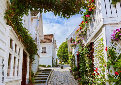 Ulica w starym centrum Stavanger - Norwegia