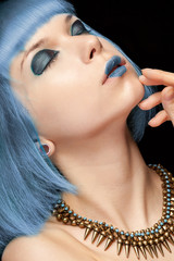 Blue hair anime girl in fashion style