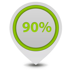 Ninety percent pointer icon on white background
