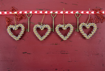 Valentine red vintage wood background with copy space.