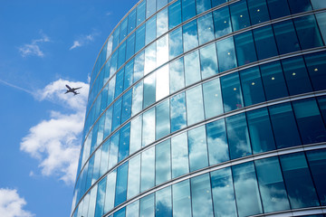 airplane with business office background, London